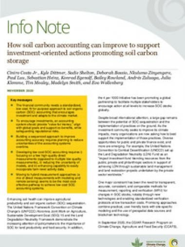 How soil carbon accounting can improve to support investment-oriented actions promoting soil carbon storage